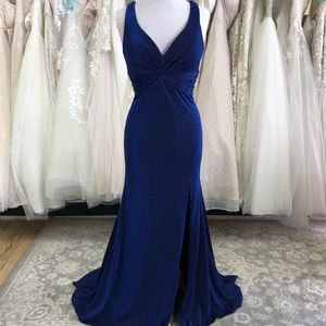 Royal Blue Sparkle Gown with knot detail/LowBack